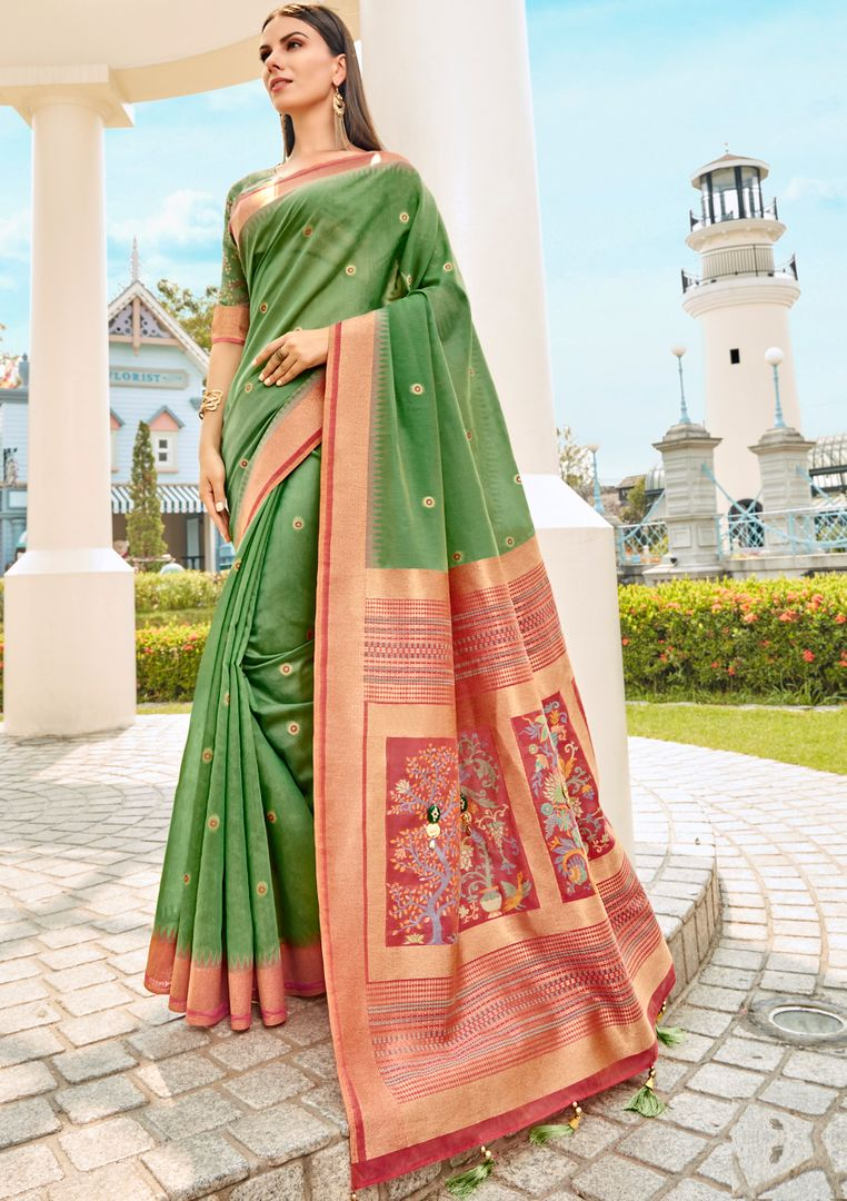 Green Color Tusser Silk Gorgeous Party Wear Sarees NYF-4857