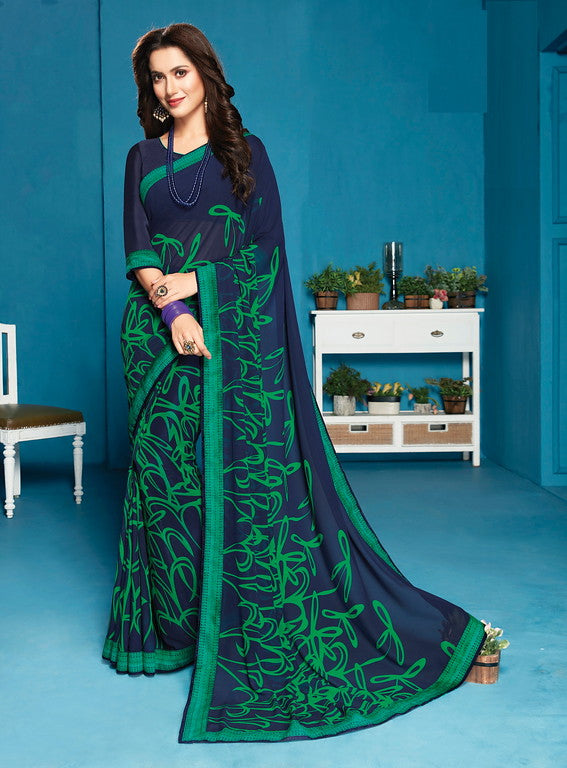 Navy Blue and green Color Georgette Casual Wear Saree- Preksha Collection  YF#10474