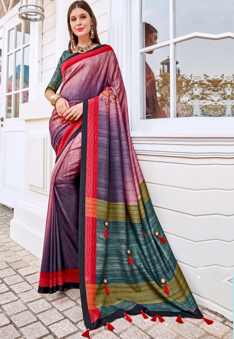 Multi Color Tusser Silk Gorgeous Party Wear Sarees NYF-4858