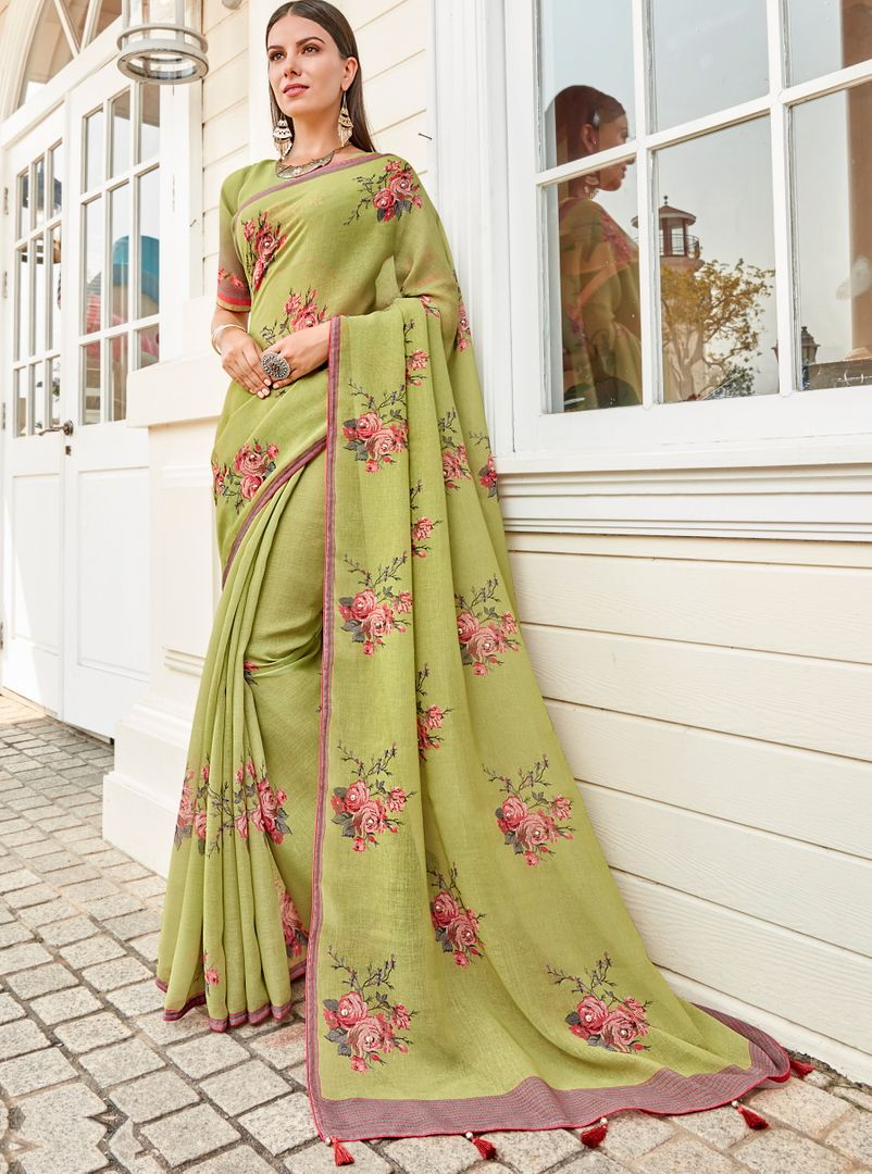 Pastel Green Color Tusser Silk Gorgeous Party Wear Sarees NYF-4859