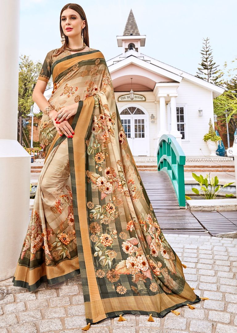 Cream Color Tusser Silk Gorgeous Party Wear Sarees NYF-4860