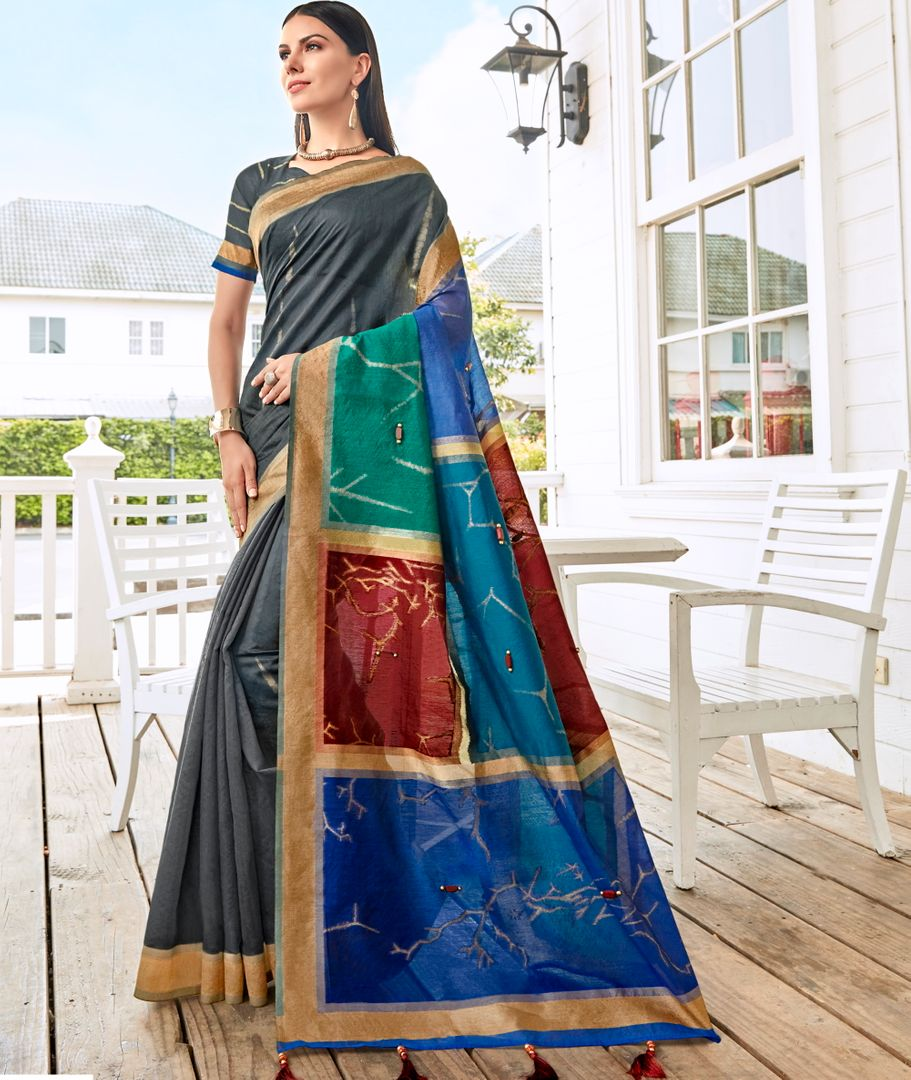 Grey Color Tusser Silk Gorgeous Party Wear Sarees NYF-4861