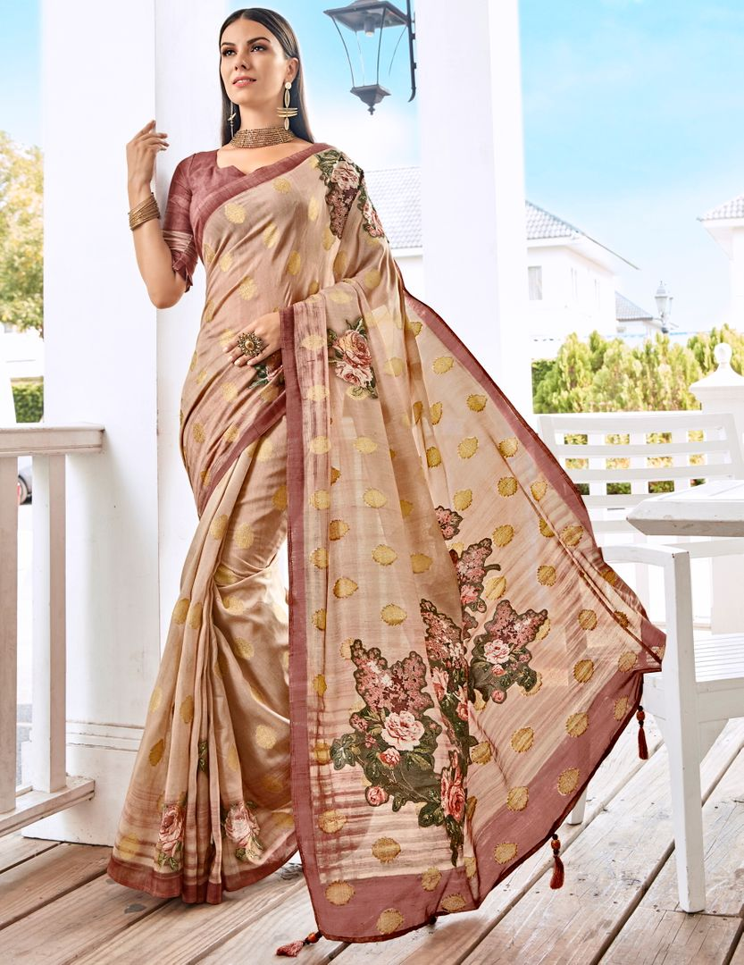 Creamish Pink Color Tusser Silk Gorgeous Party Wear Sarees NYF-4862