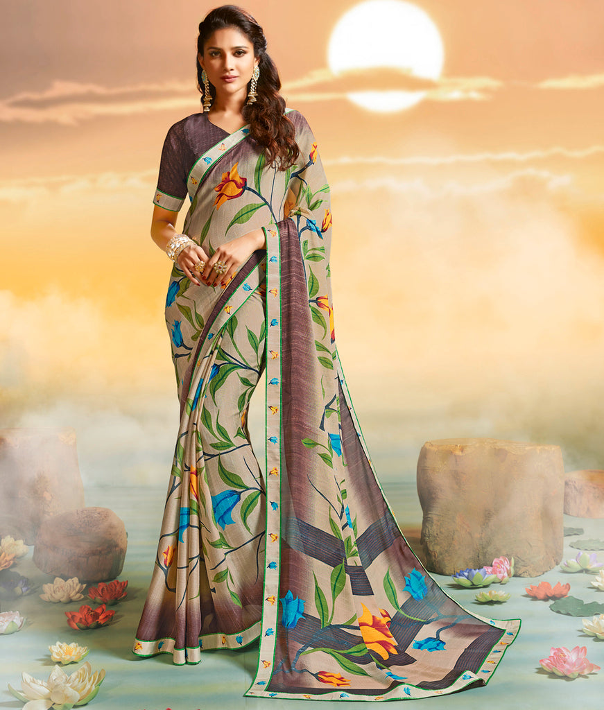 Beige Color Georgette Party & Function Wear Sarees :  Praniti Collection  NYF-2233 - YellowFashion.in