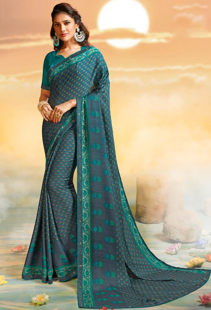 Grey Color Georgette Party & Function Wear Sarees :  Praniti Collection  NYF-2237 - YellowFashion.in