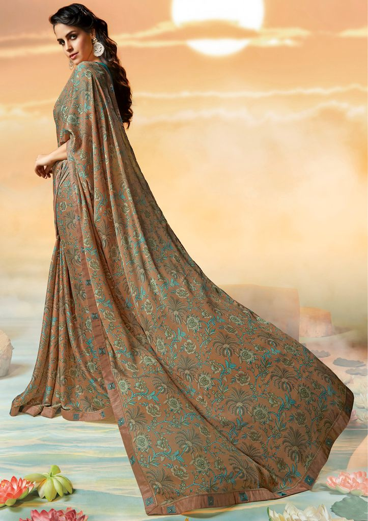 Beige Color Georgette Party & Function Wear Sarees :  Praniti Collection  NYF-2240 - YellowFashion.in