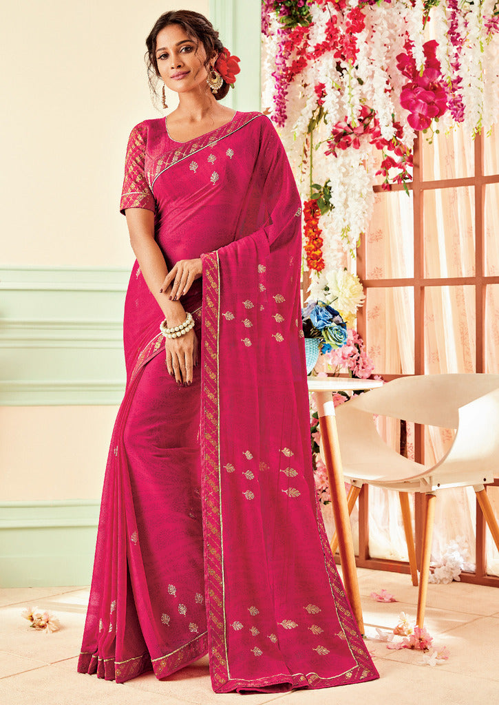 Rani Pink Color Chiffon Party & Function Wear Sarees :  Praniti Collection  NYF-2247 - YellowFashion.in