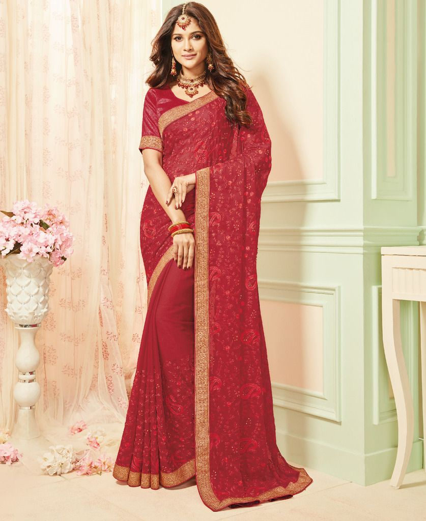 Red Color Chiffon Party & Function Wear Sarees :  Praniti Collection  NYF-2255 - YellowFashion.in