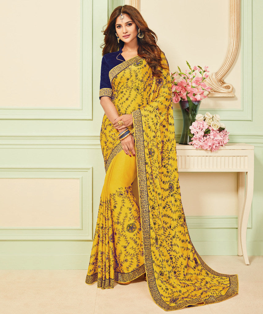 Yellow Color Chiffon Party & Function Wear Sarees :  Praniti Collection  NYF-2259 - YellowFashion.in