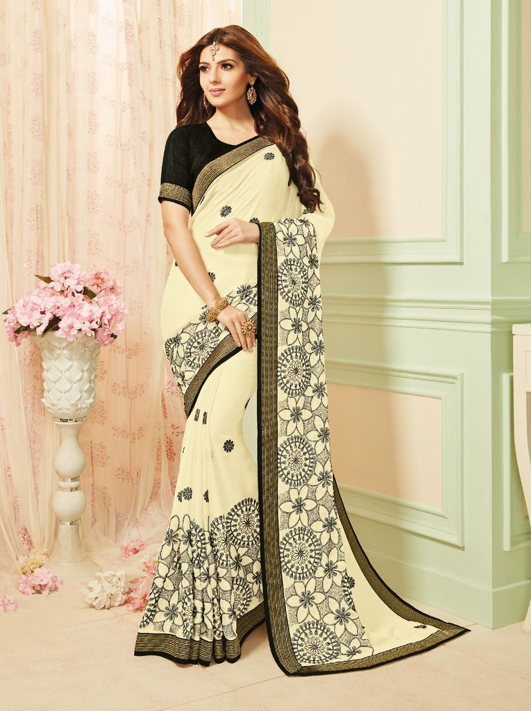 Off White Color Chiffon Party & Function Wear Sarees :  Praniti Collection  NYF-2260 - YellowFashion.in