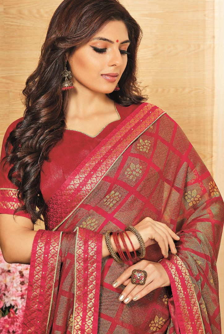 Rani Pink Color Brasso Designer Festive Sarees : Madeeha Collection  NYF-2778 - YellowFashion.in