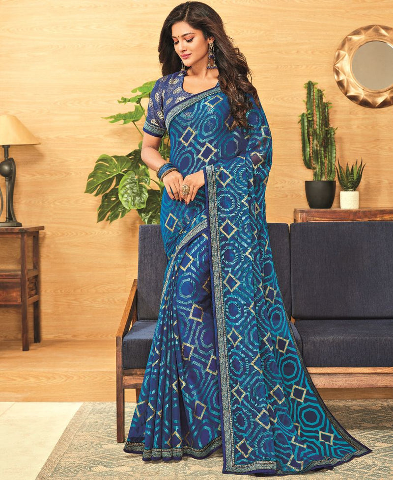 Blue Color Brasso Designer Festive Sarees : Madeeha Collection  NYF-2781 - YellowFashion.in