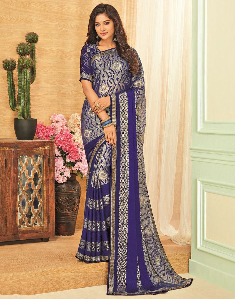 Blue Color Brasso Designer Festive Sarees : Madeeha Collection  NYF-2783 - YellowFashion.in