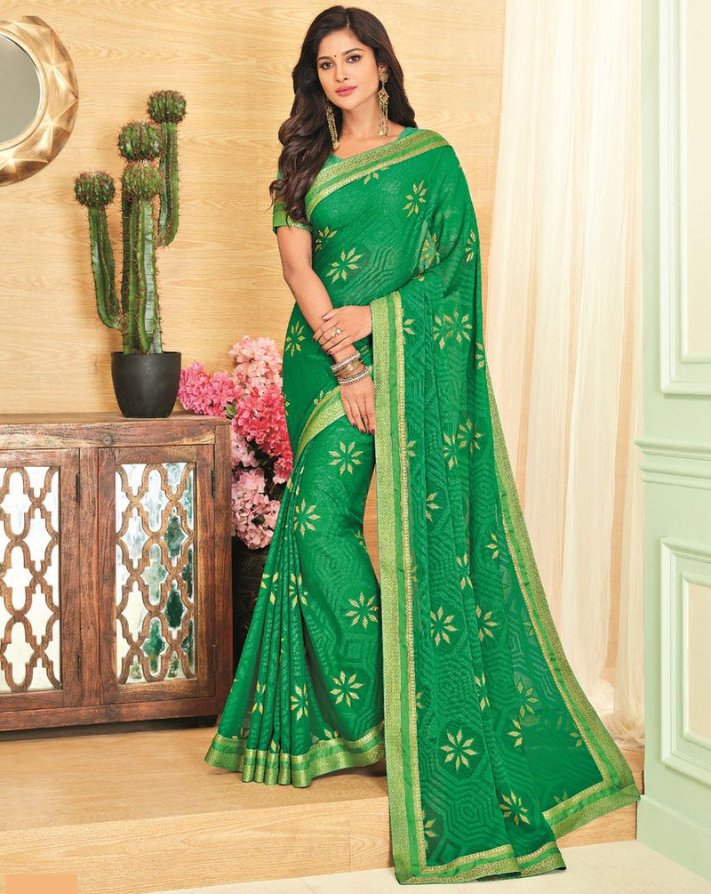 Green Color Brasso Designer Festive Sarees : Madeeha Collection  NYF-2785 - YellowFashion.in