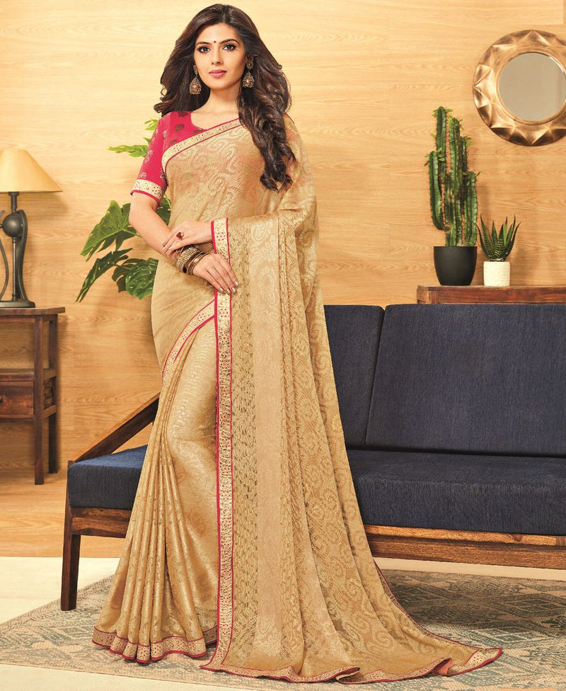 Golden Color Brasso Designer Festive Sarees : Madeeha Collection  NYF-2787 - YellowFashion.in