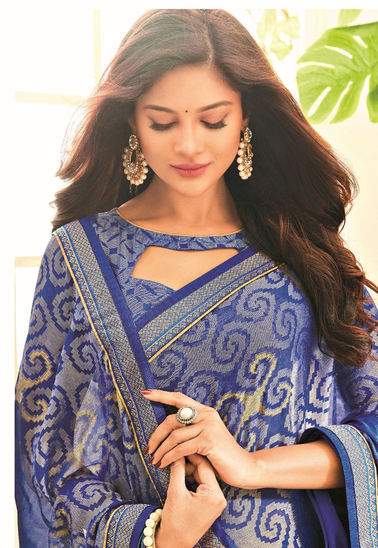Blue Color Brasso Designer Festive Sarees : Madeeha Collection  NYF-2789 - YellowFashion.in