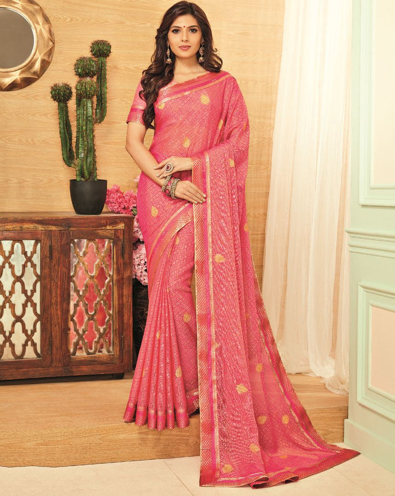 Pink Color Brasso Designer Festive Sarees : Madeeha Collection  NYF-2790 - YellowFashion.in
