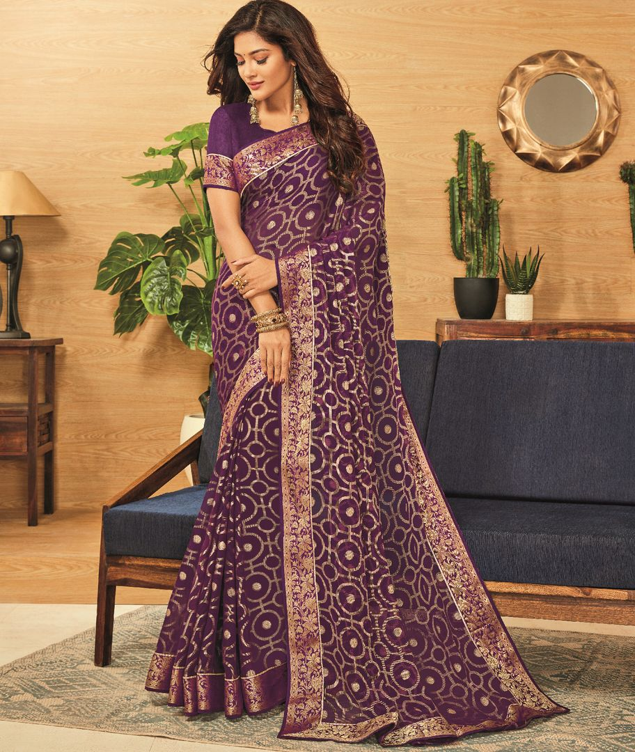 Purple Color Brasso Designer Festive Sarees : Madeeha Collection  NYF-2791 - YellowFashion.in