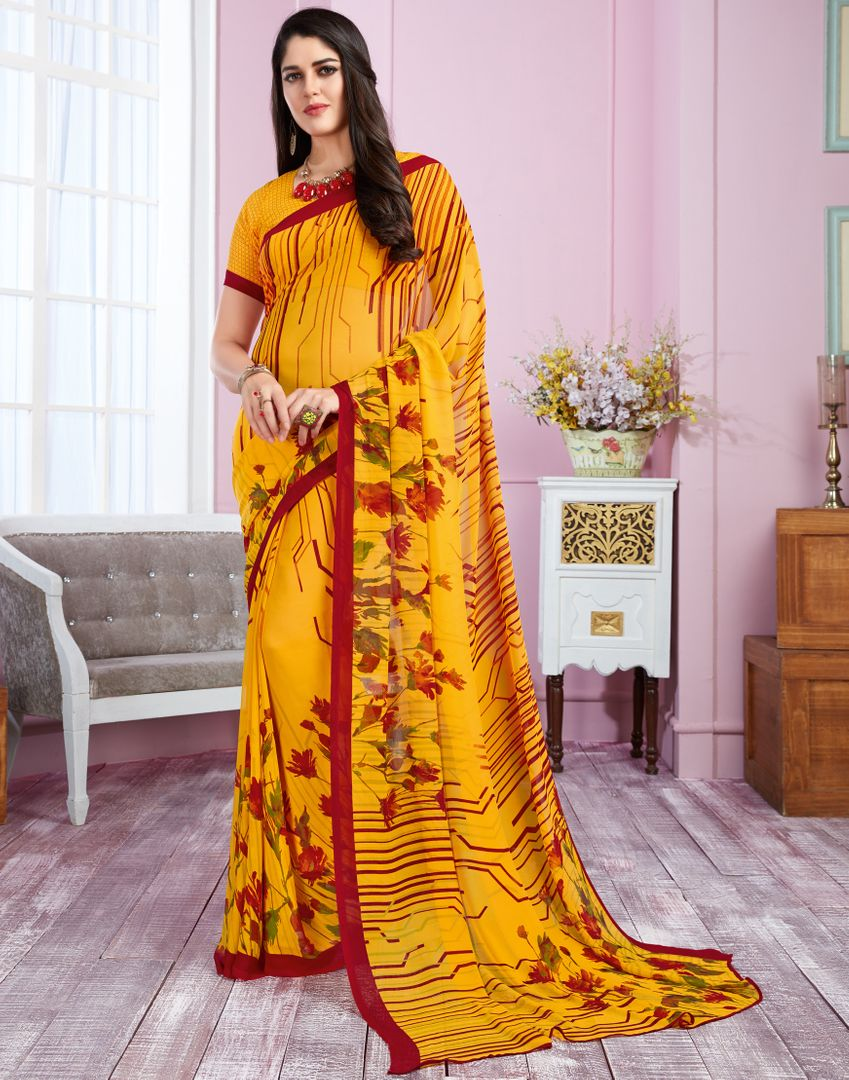 Yellow Color Georgette Kitty Party Sarees : Libha Collection  NYF-2739 - YellowFashion.in