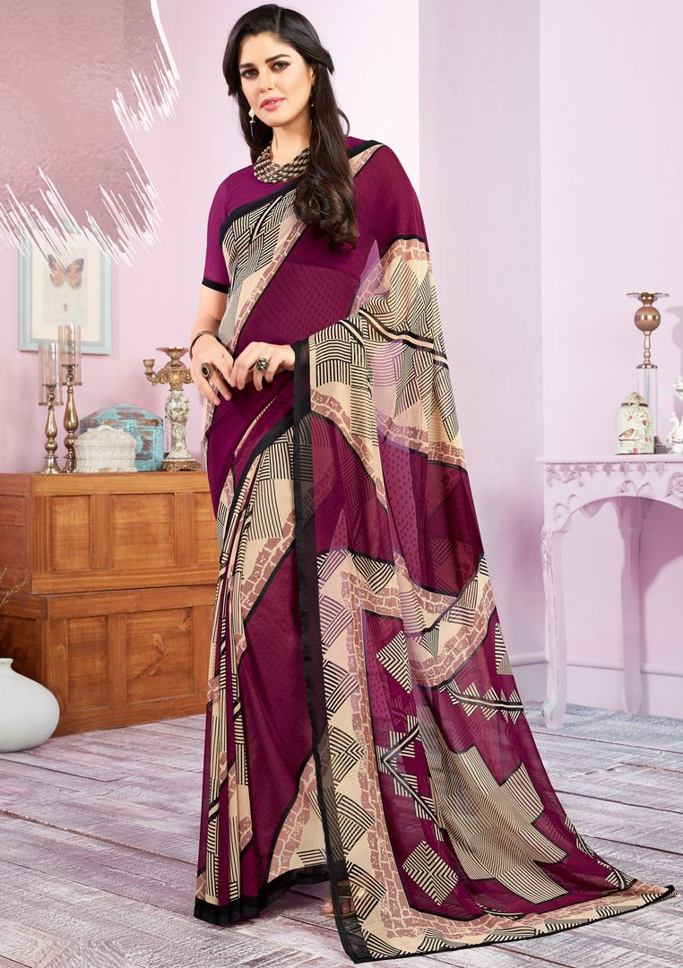 Purple Color Georgette Kitty Party Sarees : Libha Collection  NYF-2740 - YellowFashion.in