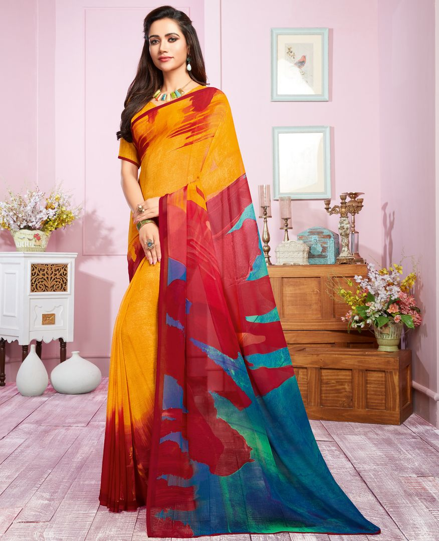 Yellow, Blue & Red Color Georgette Kitty Party Sarees : Libha Collection  NYF-2742 - YellowFashion.in