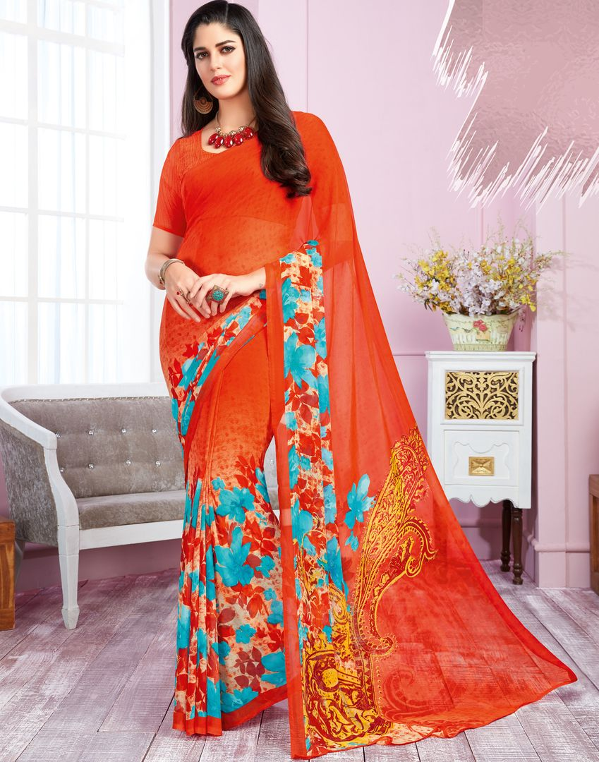 Orange Color Georgette Kitty Party Sarees : Libha Collection  NYF-2743 - YellowFashion.in