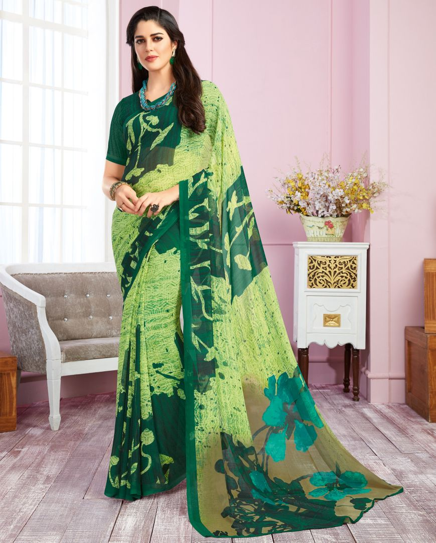 Green Color Georgette Kitty Party Sarees : Libha Collection  NYF-2744 - YellowFashion.in