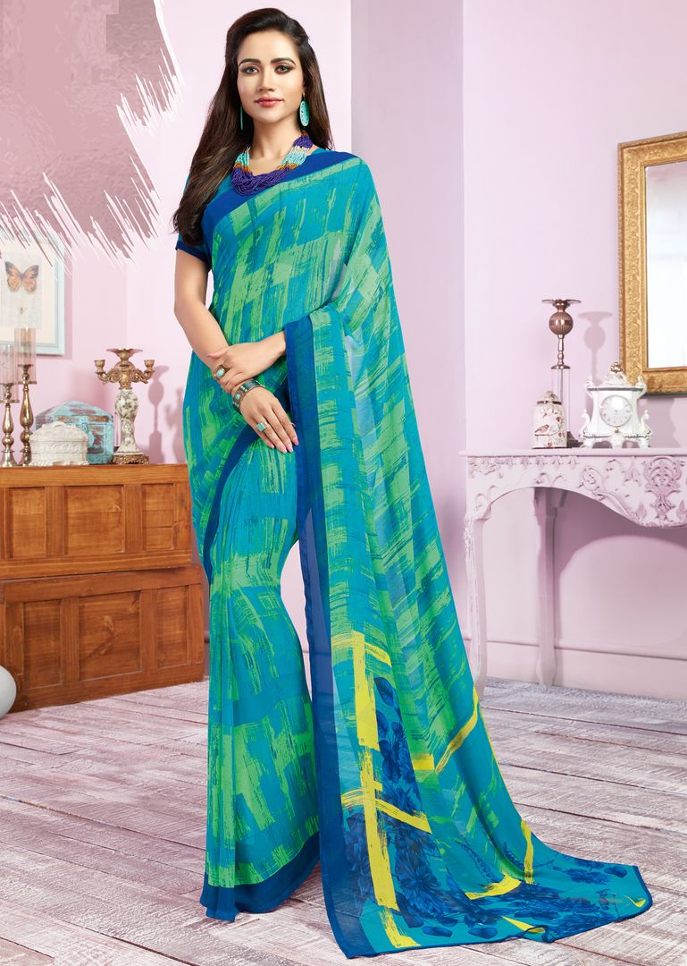 Aqua Blue & Green Color Georgette Kitty Party Sarees : Libha Collection  NYF-2745 - YellowFashion.in