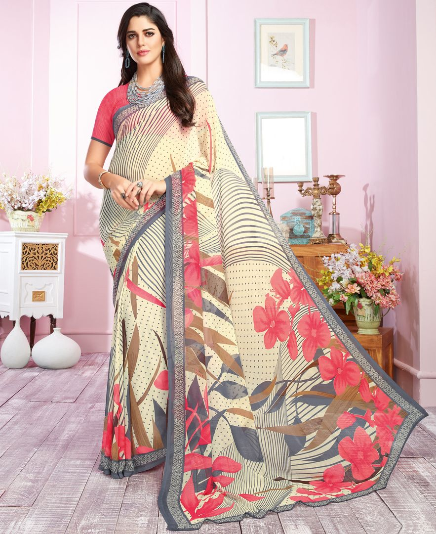 Off White & Pink Color Georgette Kitty Party Sarees : Libha Collection  NYF-2746 - YellowFashion.in