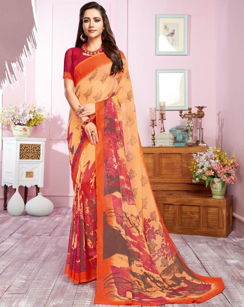 Peach Color Georgette Kitty Party Sarees : Libha Collection  NYF-2747 - YellowFashion.in