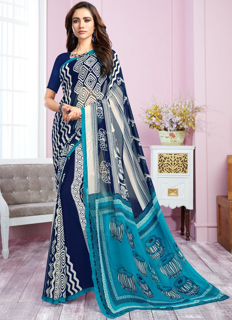 Blue & White Color Georgette Kitty Party Sarees : Libha Collection  NYF-2749 - YellowFashion.in