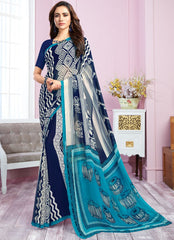 Blue & White Color Georgette Kitty Party Sarees : Libha Collection  NYF-2749