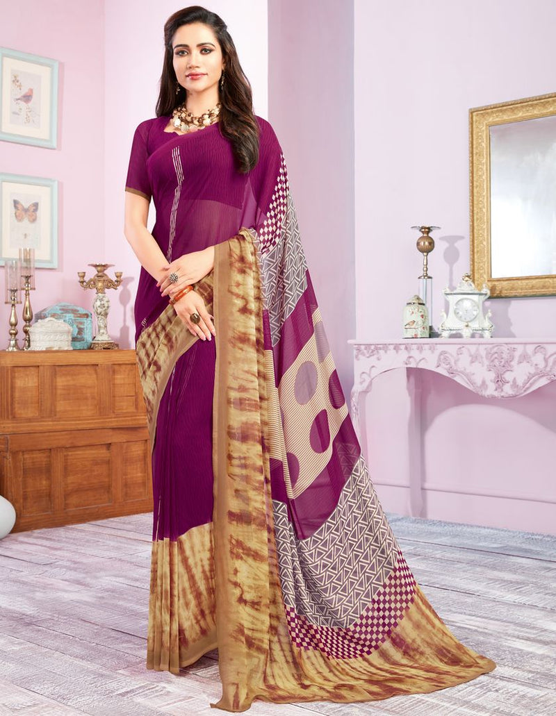 Purple Color Georgette Kitty Party Sarees : Libha Collection  NYF-2750 - YellowFashion.in
