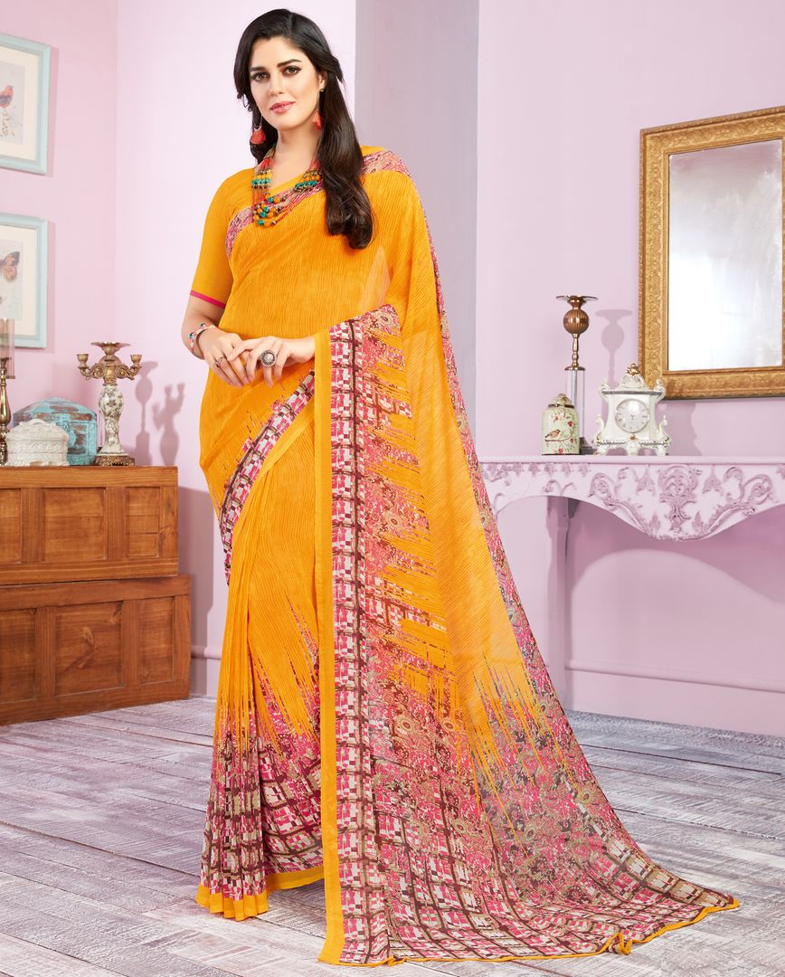 Yellow Color Georgette Kitty Party Sarees : Libha Collection  NYF-2753 - YellowFashion.in