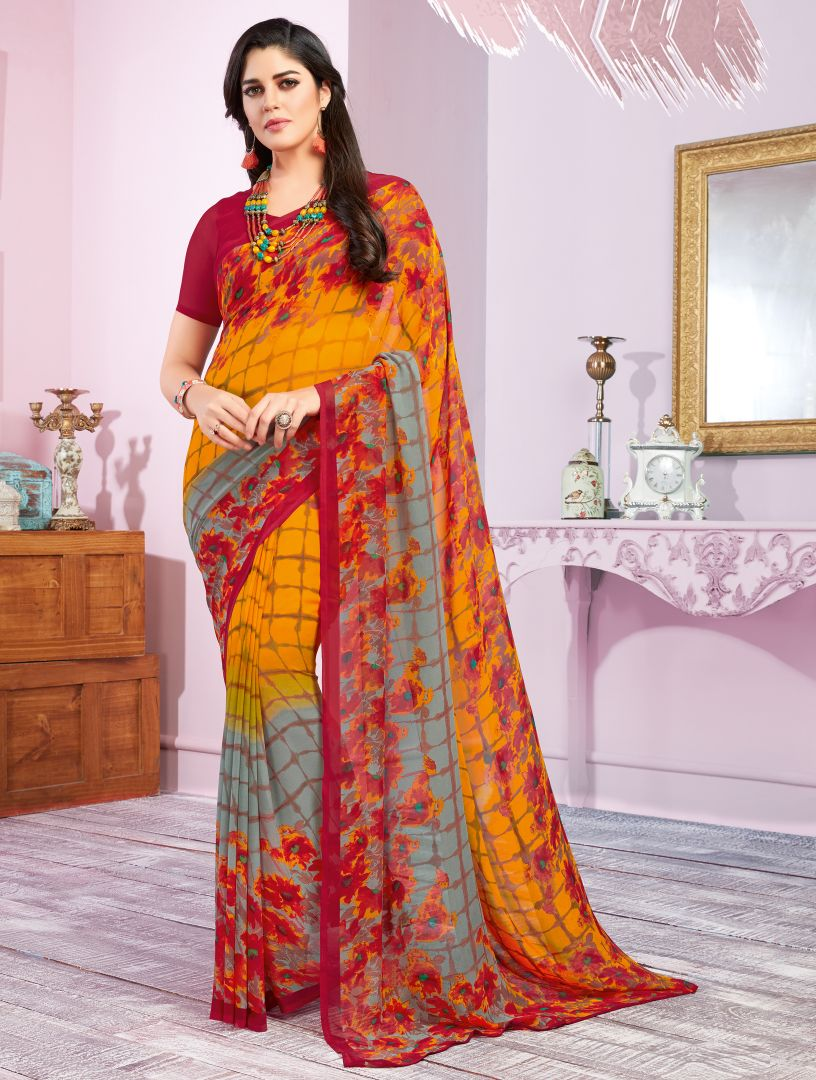 Yellow & Red Color Georgette Kitty Party Sarees : Libha Collection  NYF-2755 - YellowFashion.in