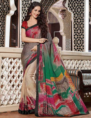 Light Coffee & Green Color Crepe Casual Party Sarees : Siyali Collection  YF-36686