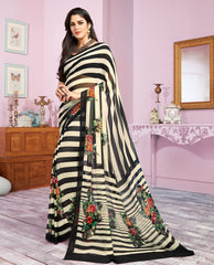 Black & White Color Georgette Kitty Party Sarees : Libha Collection  NYF-2756