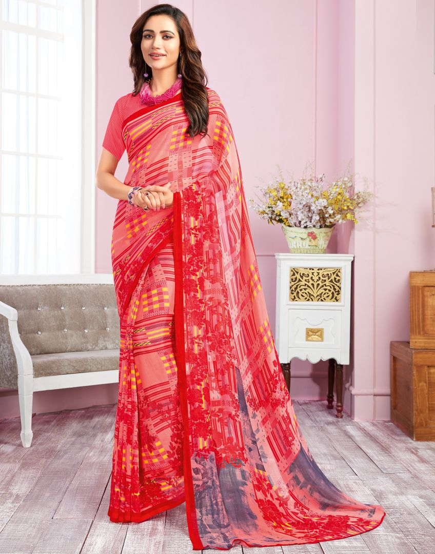 Pink Color Georgette Kitty Party Sarees : Libha Collection  NYF-2757 - YellowFashion.in