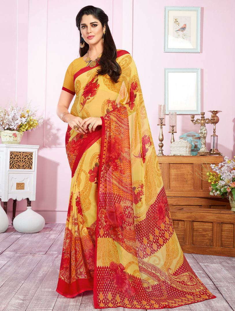 Yellow Color Georgette Kitty Party Sarees : Libha Collection  NYF-2758 - YellowFashion.in
