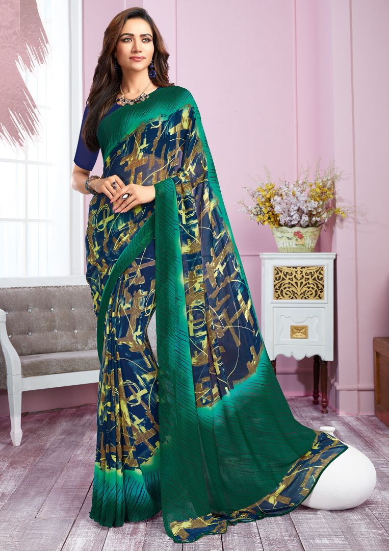 Blue & Green Color Georgette Kitty Party Sarees : Libha Collection  NYF-2759 - YellowFashion.in