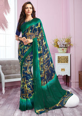 Blue & Green Color Georgette Kitty Party Sarees : Libha Collection  NYF-2759