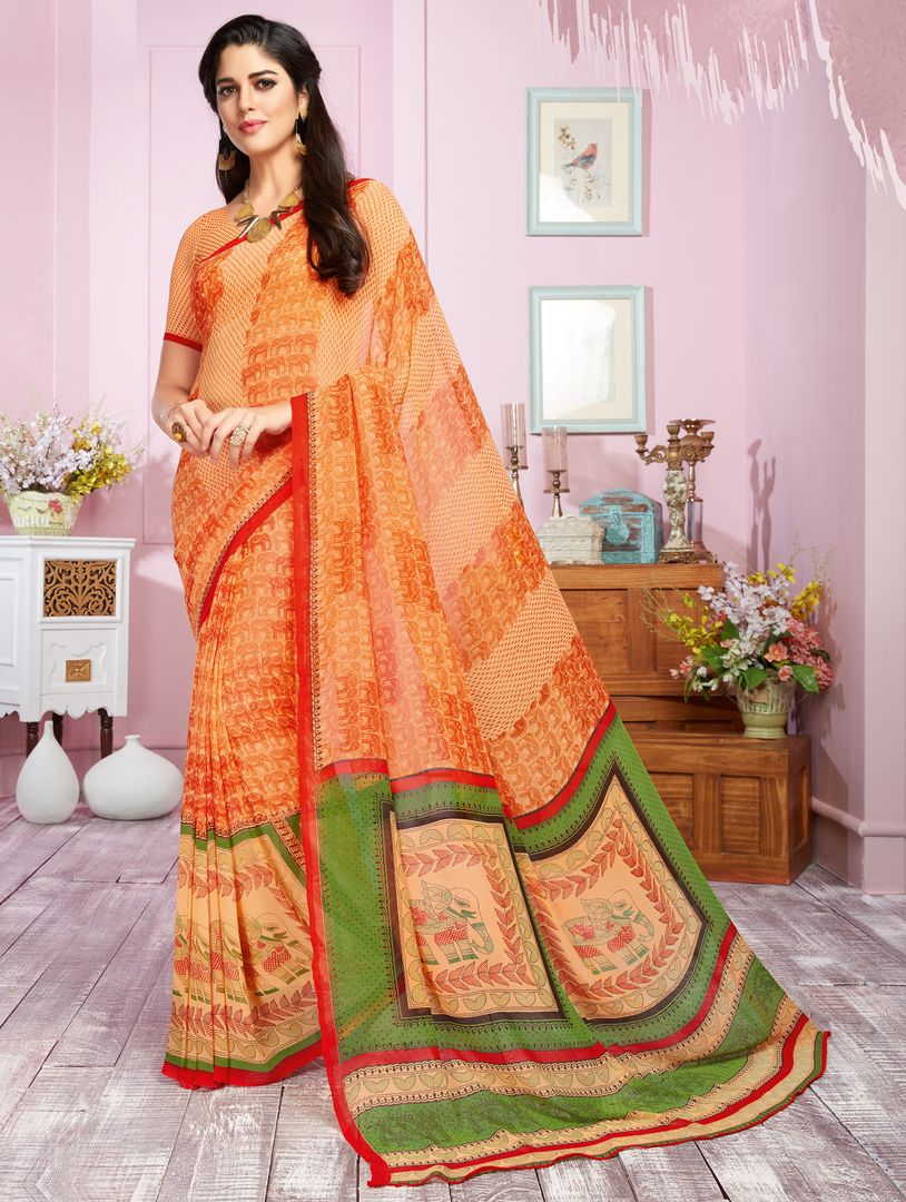 Orange Color Georgette Kitty Party Sarees : Libha Collection  NYF-2761 - YellowFashion.in