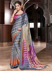 Grey Color Crepe Casual Party Sarees : Siyali Collection  YF-36694