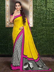 Yellow & Pink Color Crepe Casual Party Sarees : Siyali Collection  YF-36698