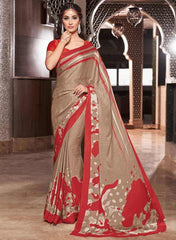 Light Brown & Red Color Crepe Casual Party Sarees : Siyali Collection  YF-36704