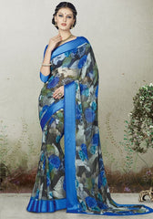 Blue & Grey Color Georgette Casual Wear Sarees : Indrishta Collection  YF-48492