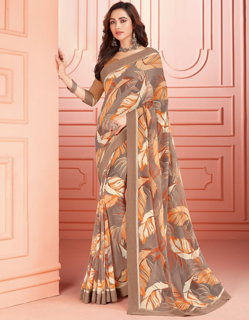 Grey & Light Brown Color Georgette Kitty Party Sarees : Ganika Collection  NYF-3139 - YellowFashion.in