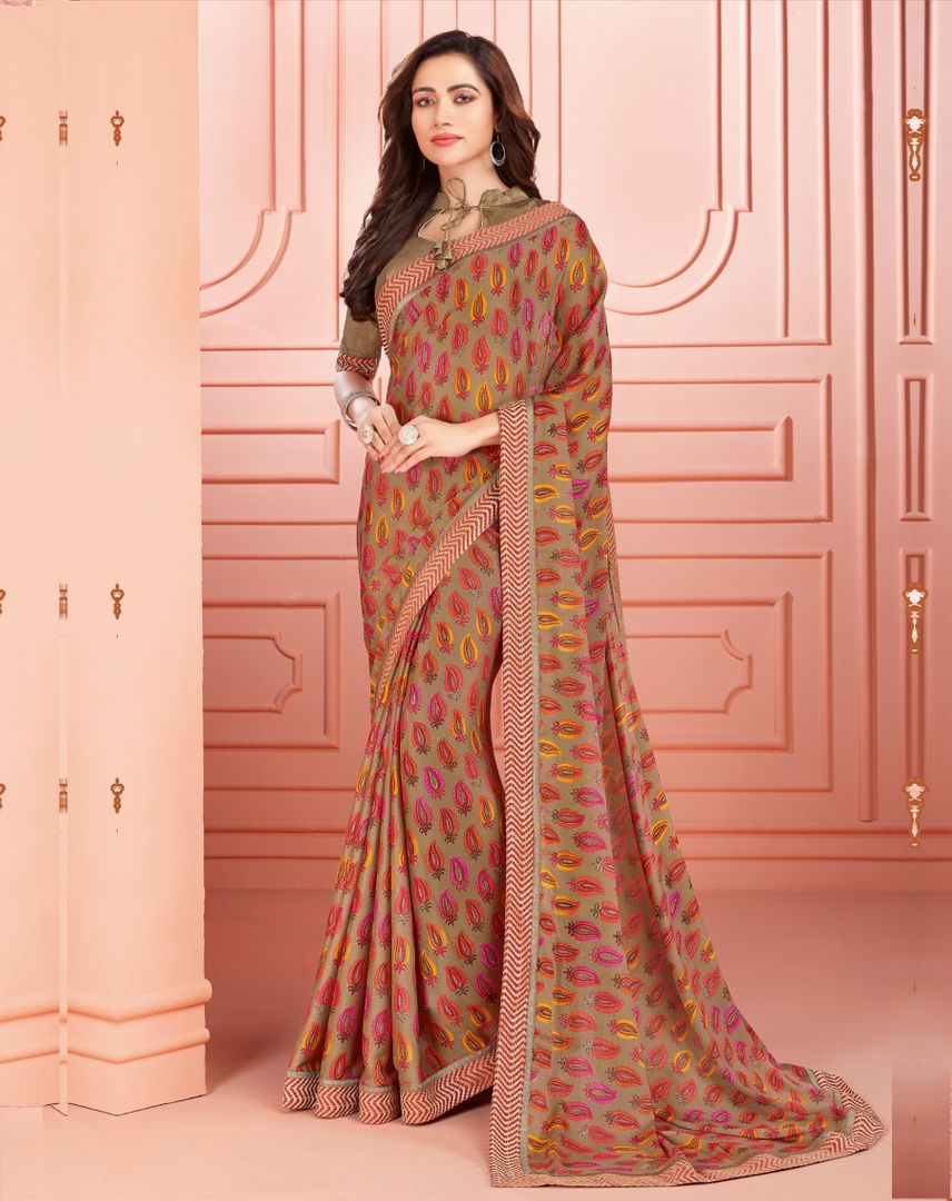 Beige Color Crepe Silk Kitty Party Sarees : Ganika Collection  NYF-3141 - YellowFashion.in