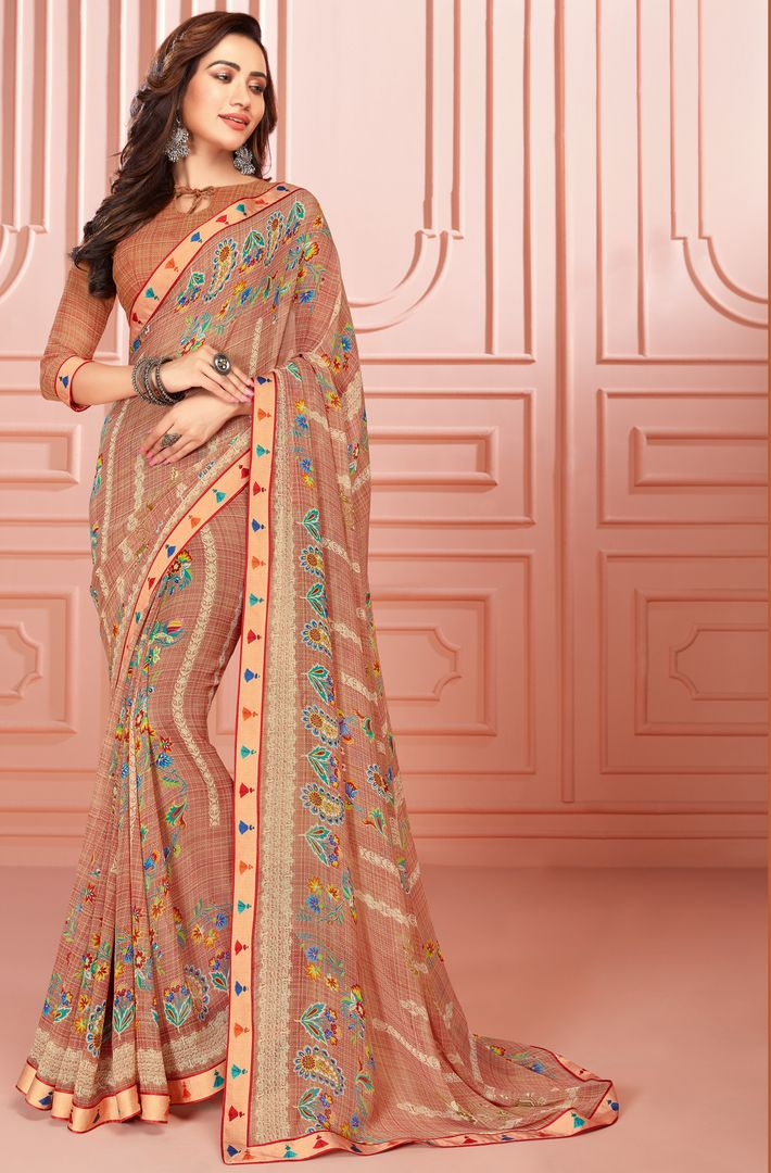 Light Brown Color Chiffon Kitty Party Sarees : Ganika Collection  NYF-3143 - YellowFashion.in