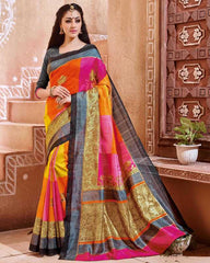 Yellow, Orange & Pink Color Bhagalpuri Party Wear Sarees : Tashvi Collection  YF-32642
